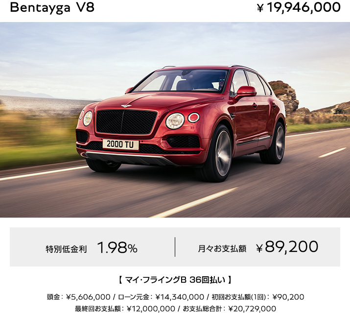 Bentayga V8(新車) お支払例